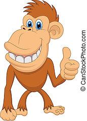 macaco, cima, polegar, cute, caricatura