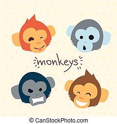macaco, conjunto cabeça, rosto, cobrança, emoção, caricatura