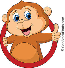 macaco, cute, caricatura, cima, polegar