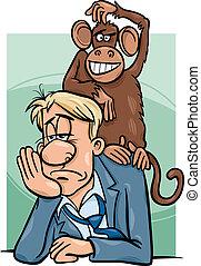 macaco, ligado, seu, costas, caricatura