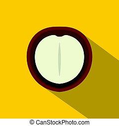 Macadamia nut icon, flat style
