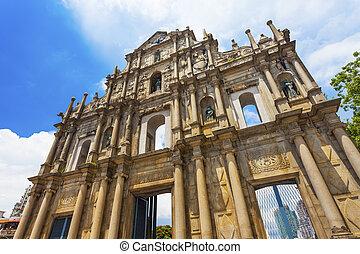 macao, c/, china, iglesia, paul, ruinas