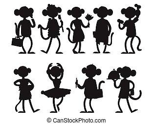 macaque, primat, silhouette, aimer, gens, nature, caractère, chimpanzé, singes, vecteur, animal, sauvage, rare, singe, dessin animé, illustration.