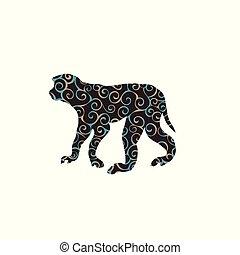 macaque, silueta, macaco, primata, cor, padrão, espiral, animal