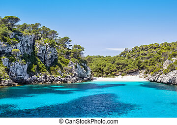 macarelleta, eiland, -, menorca, populair, cala, strand