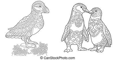 macareux, pingouins empereur