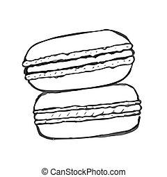 Macaron doodle, set of vector hand drawn elements