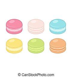 macaron, ensemble, dessin animé