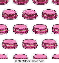 macaron, esboço, amêndoa, pattern., seamless, francês, vetorial, macaroon, ilustração, fundo, style.