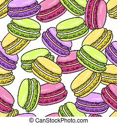 macaron, esboço, doce, pattern., seamless, francês, vetorial, macaroon, ilustração, fundo, style.