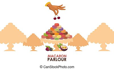 Macaron parlour vector illustration. Pastry shop advertisement poster, french macaron sweet confection, tasty dessert. Luxury presentation, confectionery showcase, selection of delicious cookies cafe
