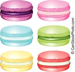 Macaron with different flavors illustration
