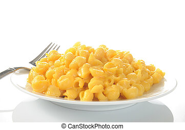 Macaroni and cheese - A plate of macaroni and cheese on a...