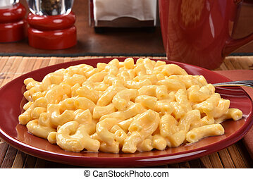 Closeup of a plate of macaroni and cheese