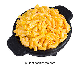 macaroni and cheese dinner on a yellow plate isolated over...