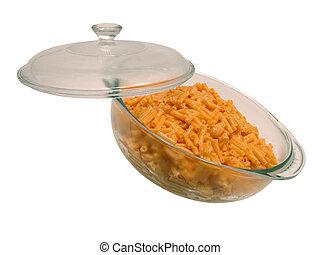 Glass baking dish full of hot macaroni and cheese dinner.