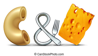 Macaroni and cheese as an American traditional comfort food made with noodles as a 3D illustration.