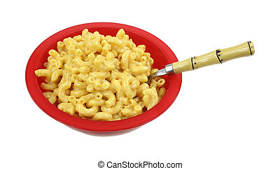 Macaroni Cheese Red Bowl Spoon - Cooked macaroni and cheese,...