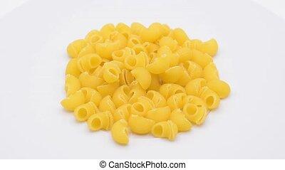 Macaroni circling footage on white background