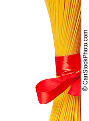 Closeup view of dried macaroni tighten with red ribbon