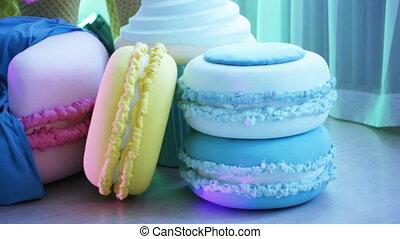 Macaroni decorative on floor - Decorative macaroni stacked...