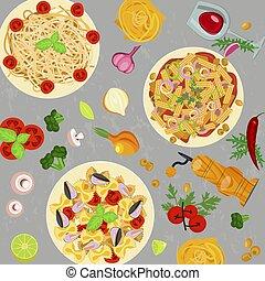 macaroni., gabarit, italien