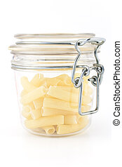 Macaroni in glass jar isolated on white