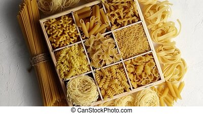 Macaroni of different kind - From above view of macaroni of...