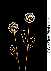 noodles, in the form of dandelions on a dark background