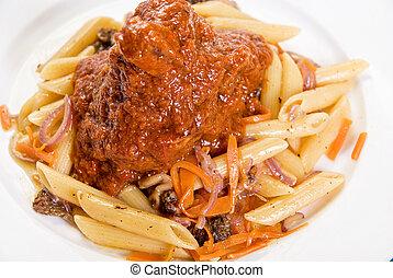 Macaroni with lamb meat
