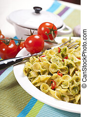 Macaroni with Pesto Sauce and Tomato #1
