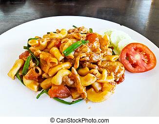 Macaroni with tomato sauce