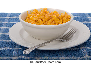 Macaronie and Cheese in White Bowl