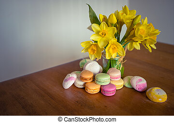Macarons And Flowers - Flowers And Macarons On A Rustic Old...