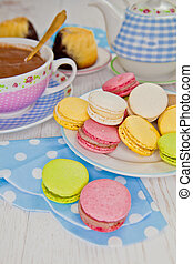 Macarons and hot chocolate