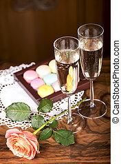 macarons, champagne