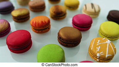 Macarons dessert. Many cute colors Assortment of pastel colored macaron of different flavors.
