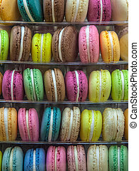 macarons, in, gevarieerd, kleuren