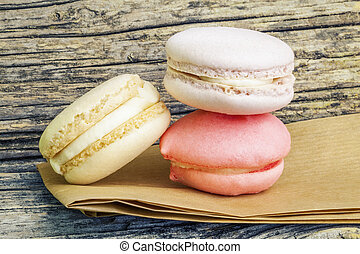 Macarons in three colors