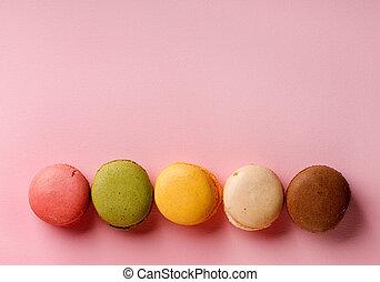 Macarons on pink