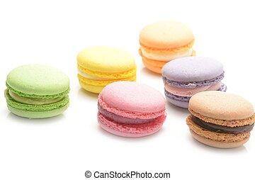 Macarons on white background