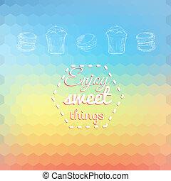 Macarons sweets background card on bright bgeometric background. Enjoy sweet things