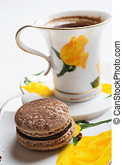 macaroon cake with cup of coffee