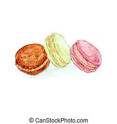 Watercolor sweet dessert fruit berry macaroon set isolated