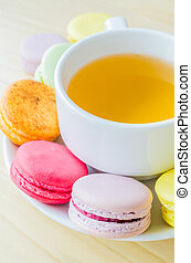 Macaroon - Colorful macaroon with white cup tea