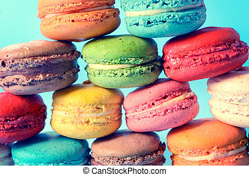 Macaroon cookies - Close up to traditional Frenchl macaroon...
