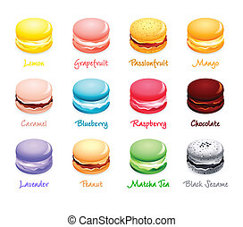 Macaroon flavors - Colorful french macaroon cookies with...