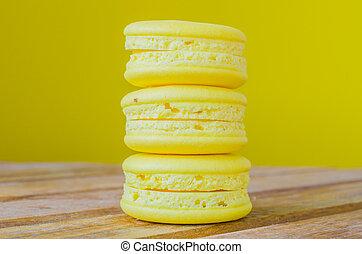 Macaroon - Lemon macaroon on yellow background