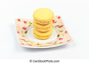 Macaroon on a plate - Sweets on a plate that is on the table...