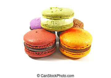 macaroon pile - pile of macaroons on white background